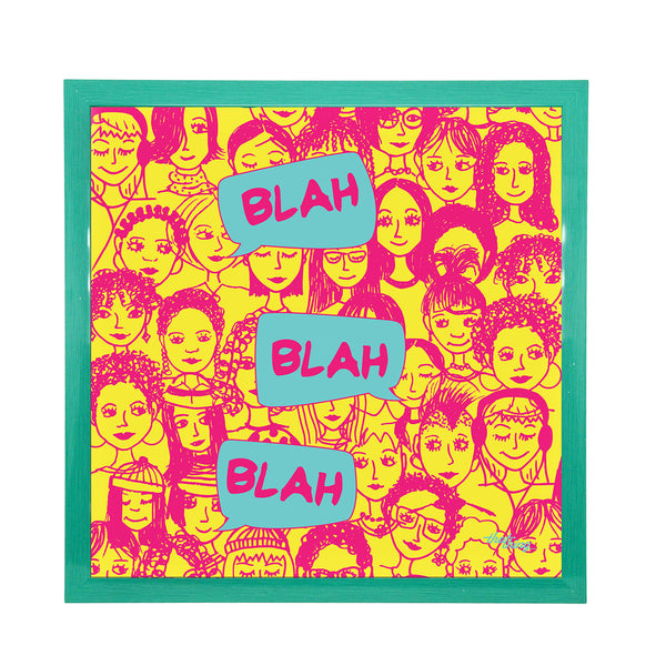 Blah Blah Pink Canvas Frame