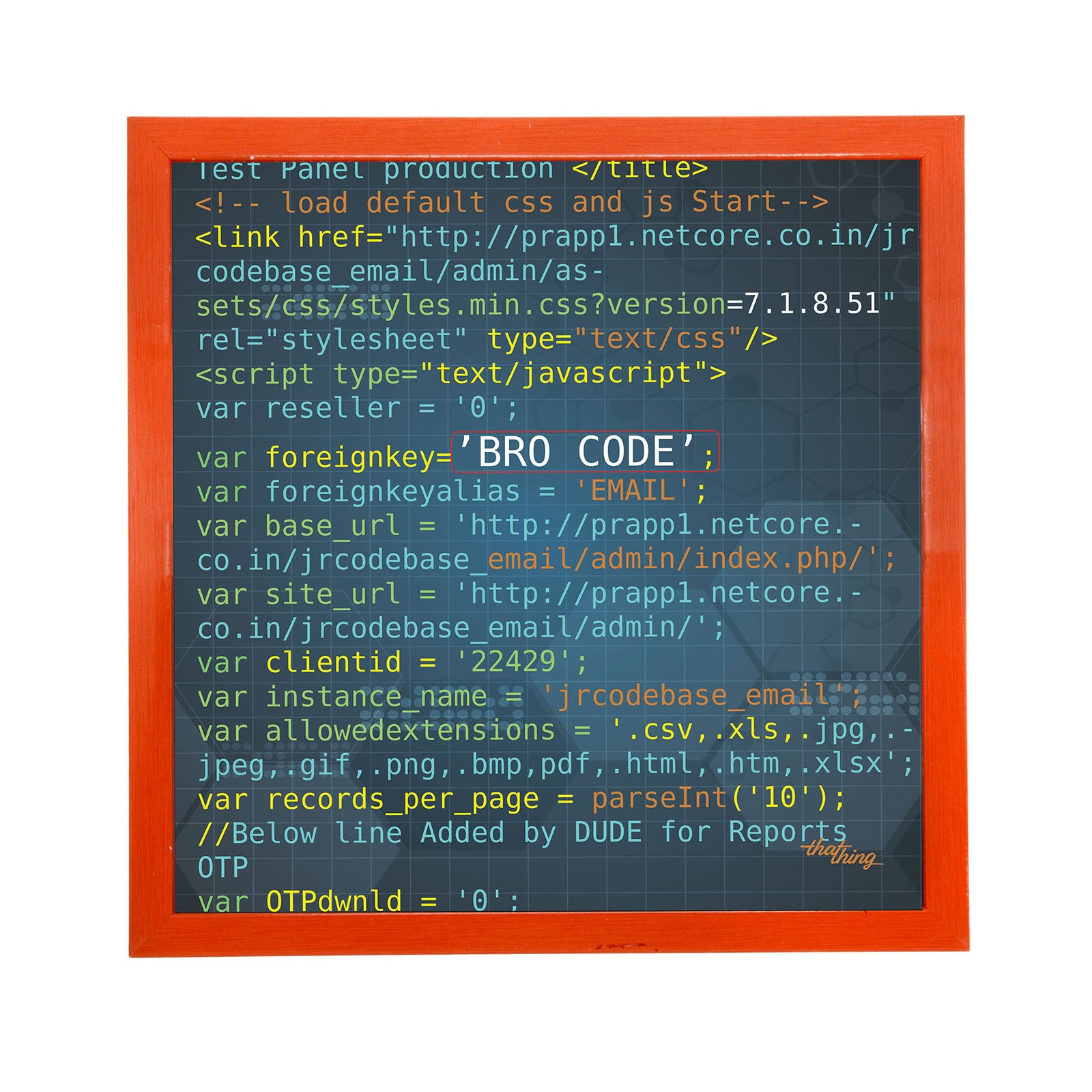 Bro Code Canvas Frame
