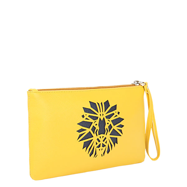 Yellow Lion Wristlet