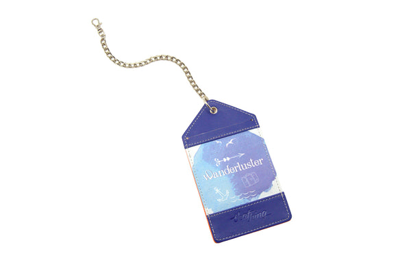 Purple Blue Luggage Tag Bag Tag Wanderluster Thathing_Chain Open