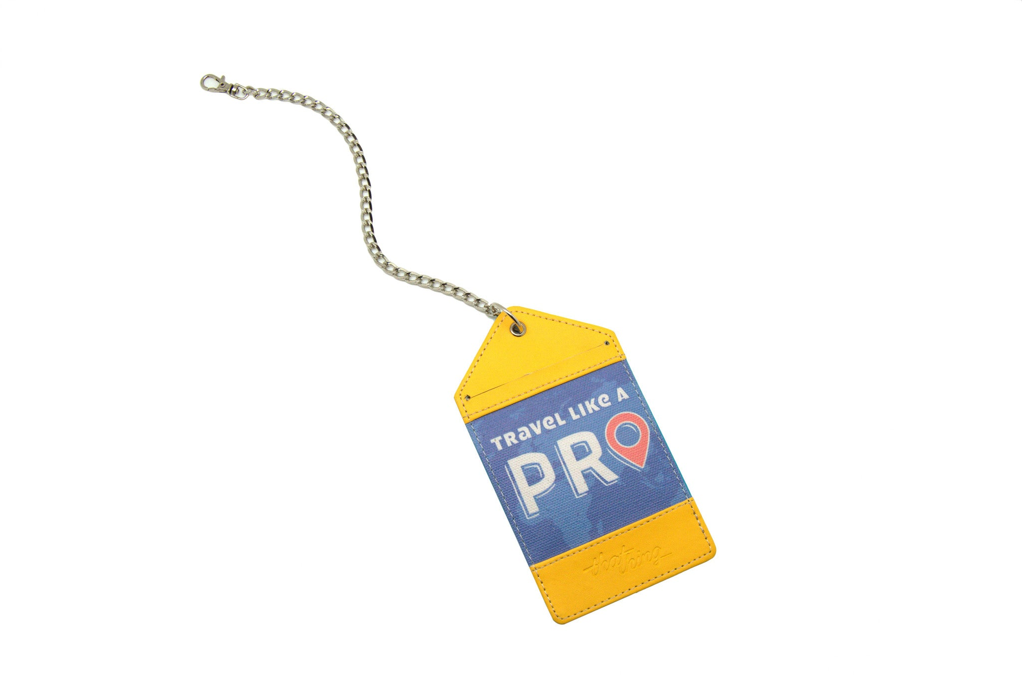 Yellow Blue Luggage Tag Bag Tag Travel Like A Pro Thathing_Chain Open