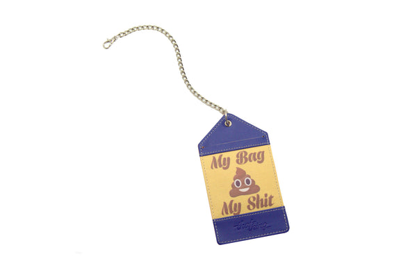 Purple Yellow Luggage Tag Bag Tag My Bag My Shit Thathing_Chain Open