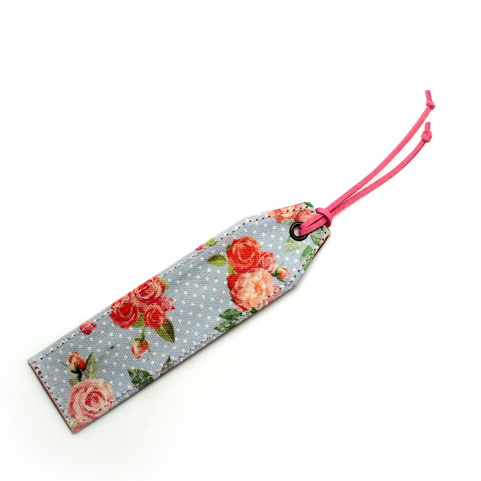 Fresh Floral Blue Canvas Bookmark