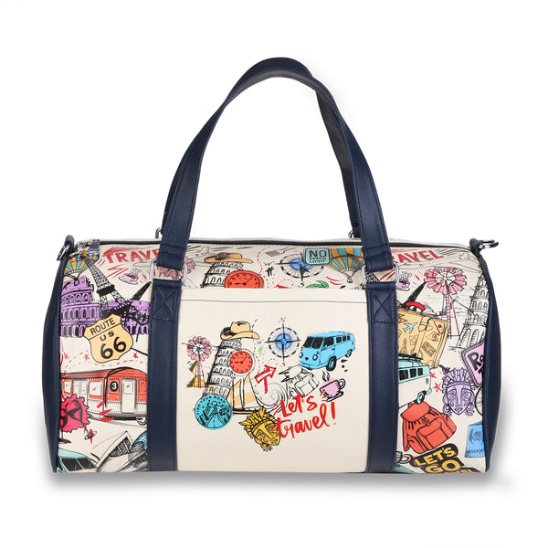 Multicolor Bucket List Doodle Duffel Bag