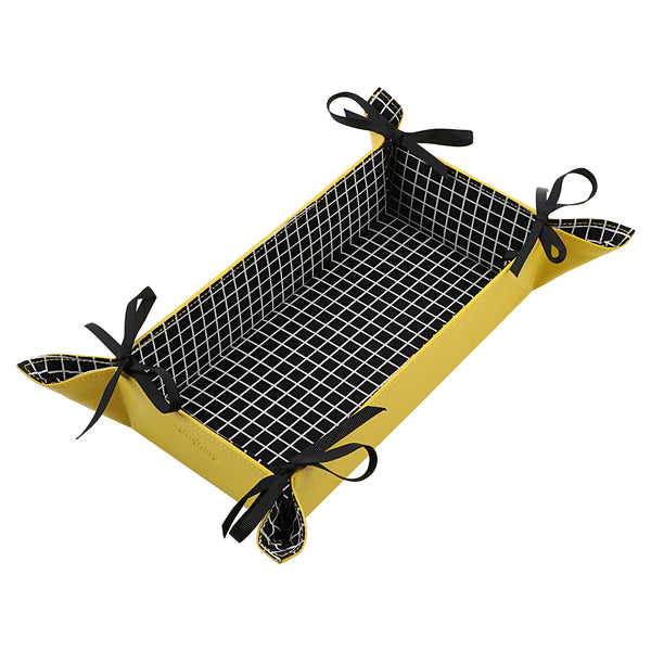 Black White Checkered Rectangle Reversible Tray
