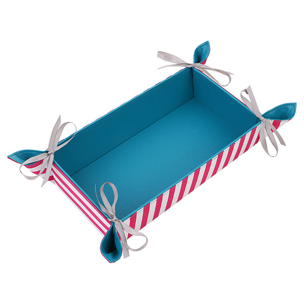 Pink Stripes Rectangle Reversible Tray