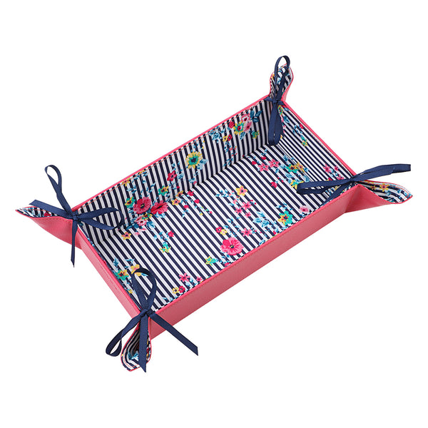 Floral Stripes Rectangle Reversible Tray