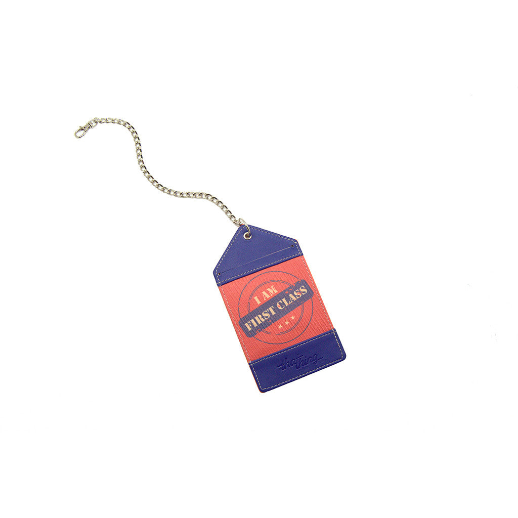 Purple Red Luggage Tag Bag Tag First Class Thathing_Chain Open