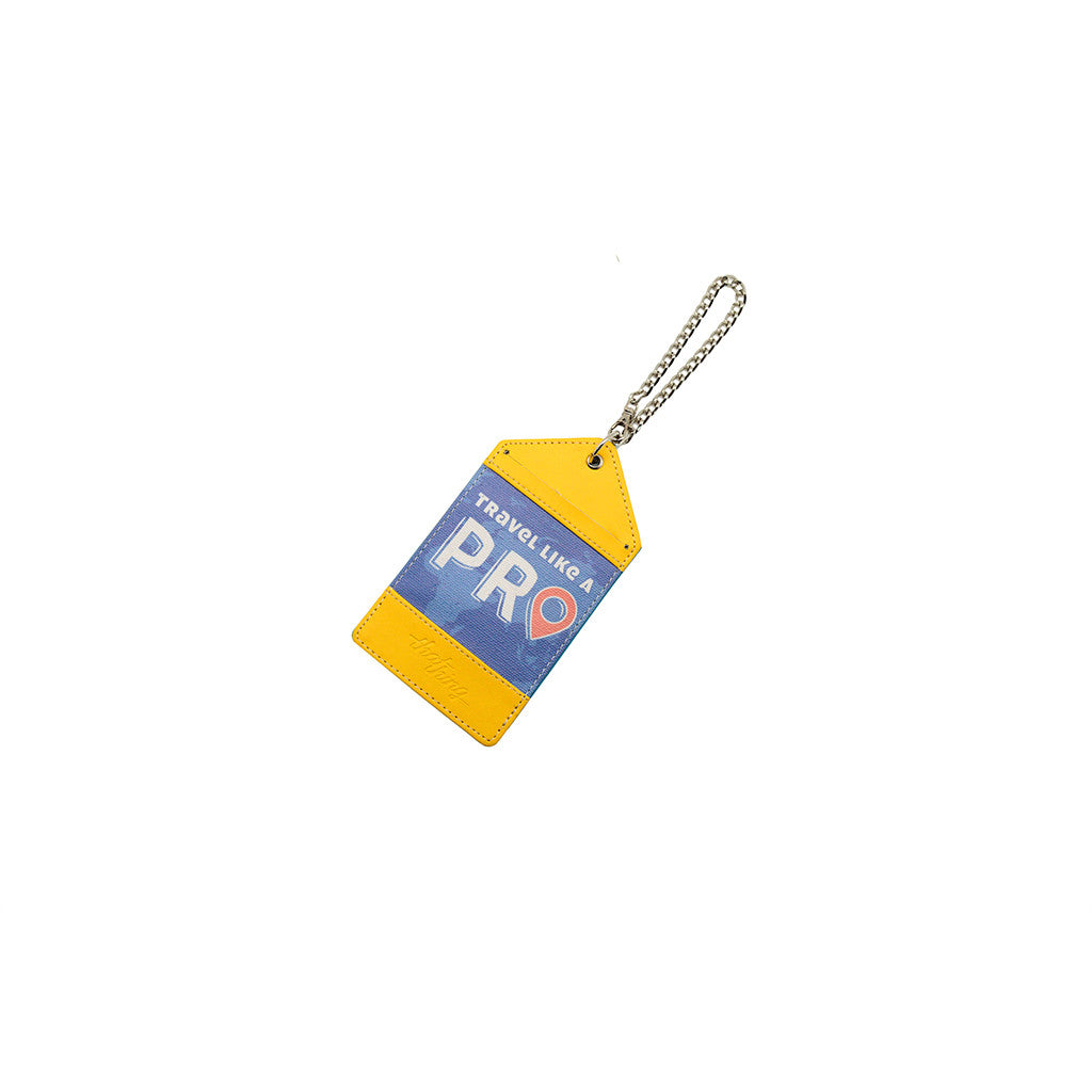 Yellow Blue Luggage Tag Bag Tag Travel Like A Pro Thathing_Chain Closed