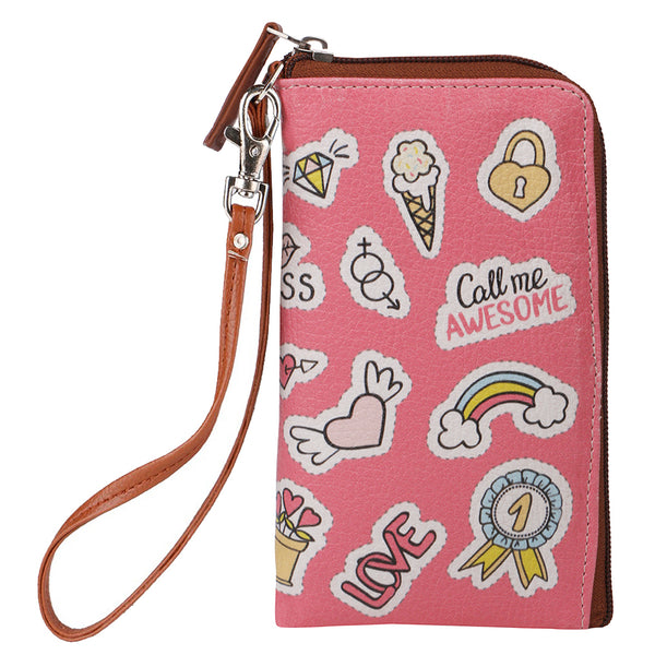 Pink Sticker Phone Pouch
