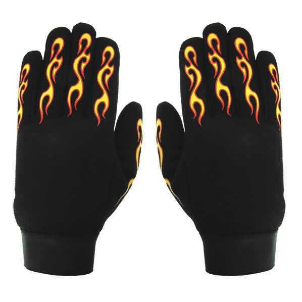 [HOT LEATHERS] FLAMES MECHANIC GLOVES (フレームメカニックグローブ)