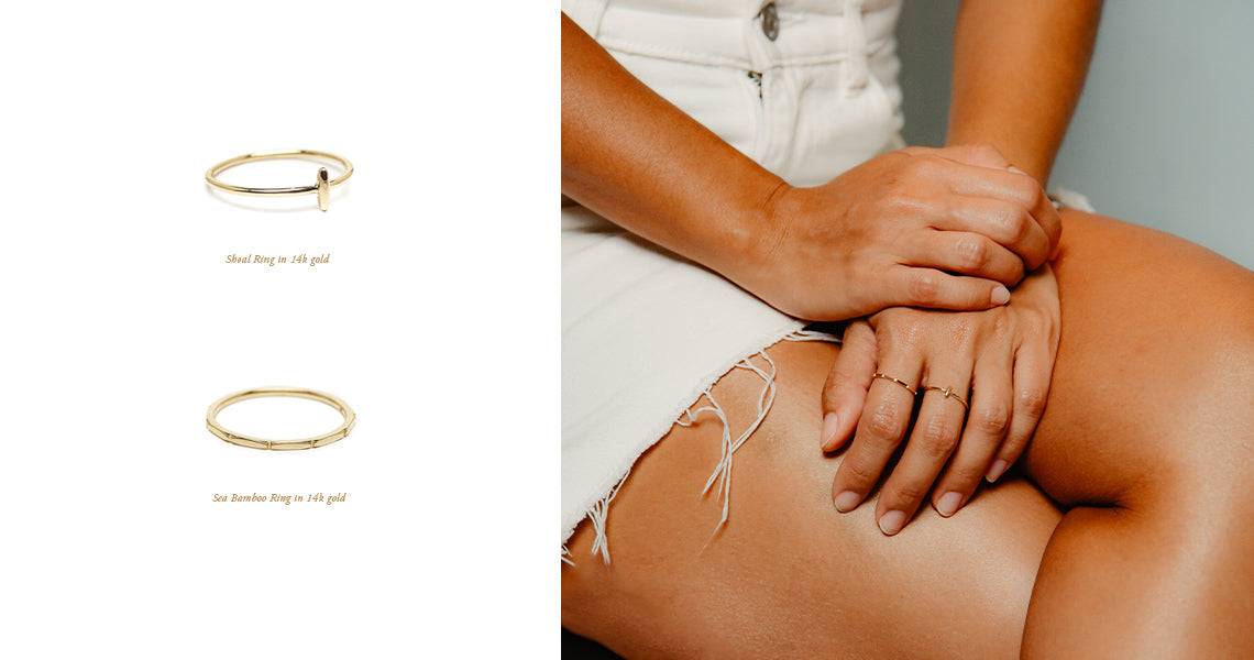 minimalist fine jewelry. ebb and flow 14k gold stacking rings