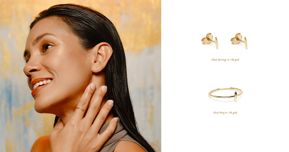 minimalist fine jewelry. ebb and flow 14k gold ring and earring
