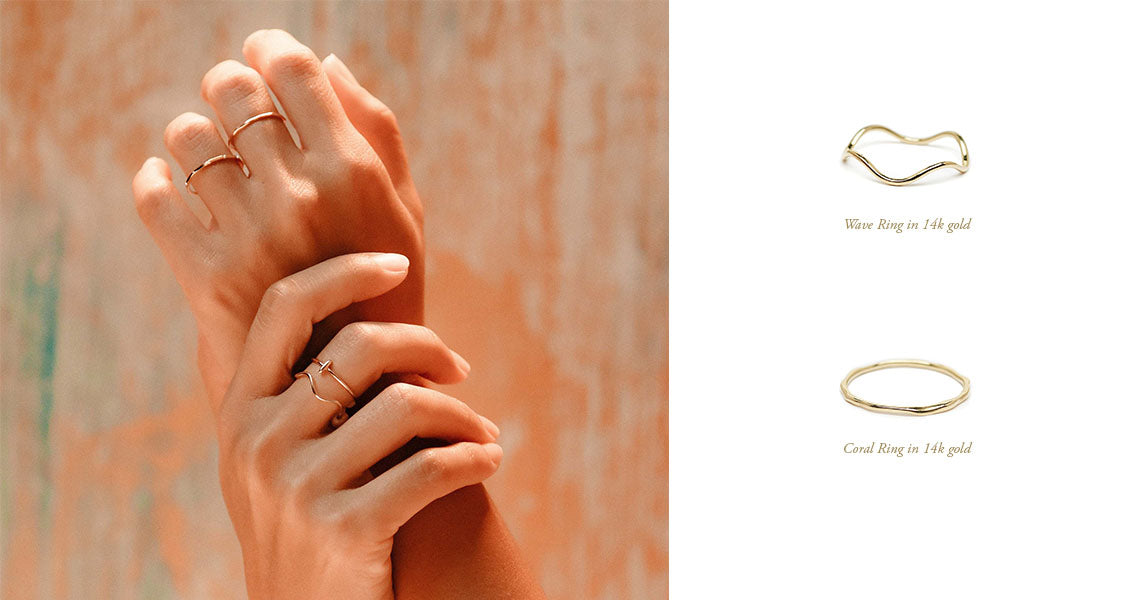 The Straits Finery 14k solid gold minimalist jewelry in 14k solid gold inspired by organic shapes from the coral reef