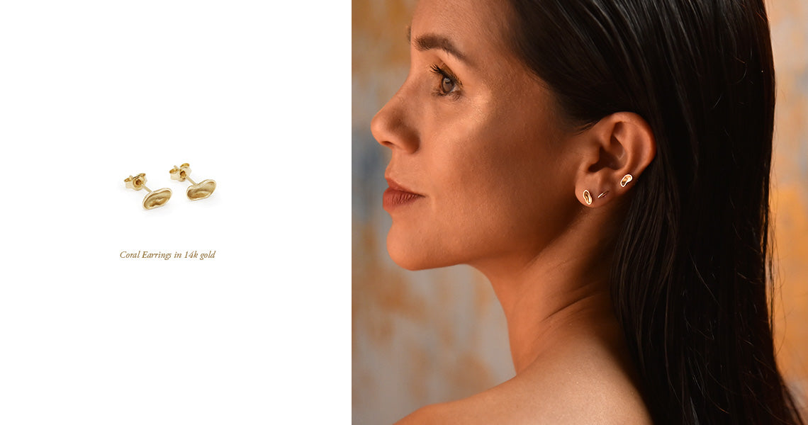 The Straits Finery Ebb & Flow Wave 3 Reef. Minimalist 14k solid gold jewellery inspired by organic shapes from the coral reef.