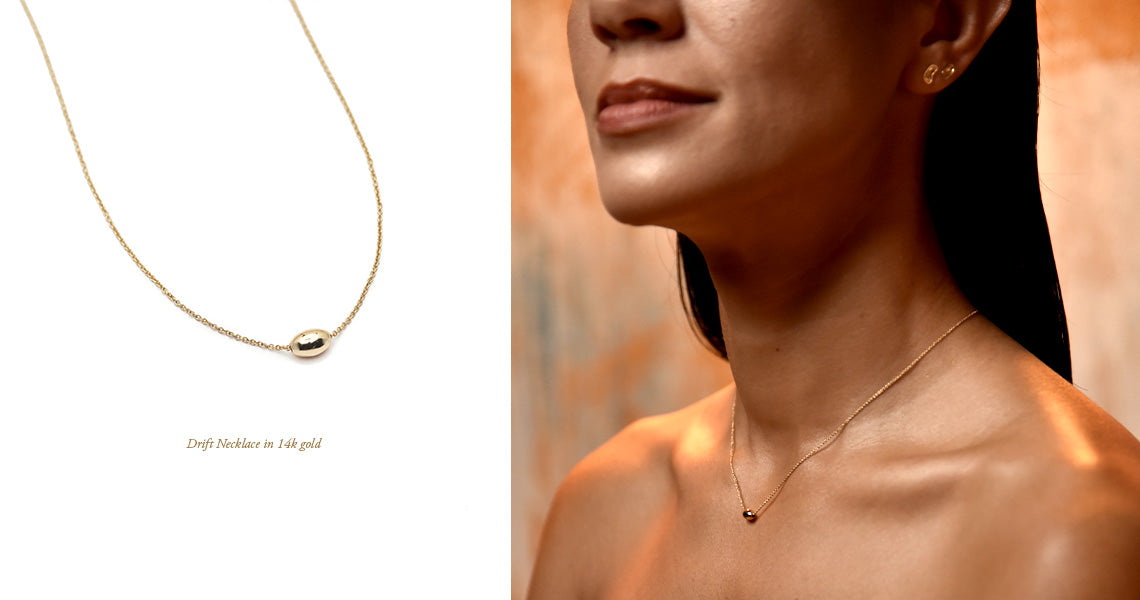The Straits Finery Ebb & Flow Wave 3 Reef. 14k solid gold minimalist jewelry inspired by natural shapes from the coral reef