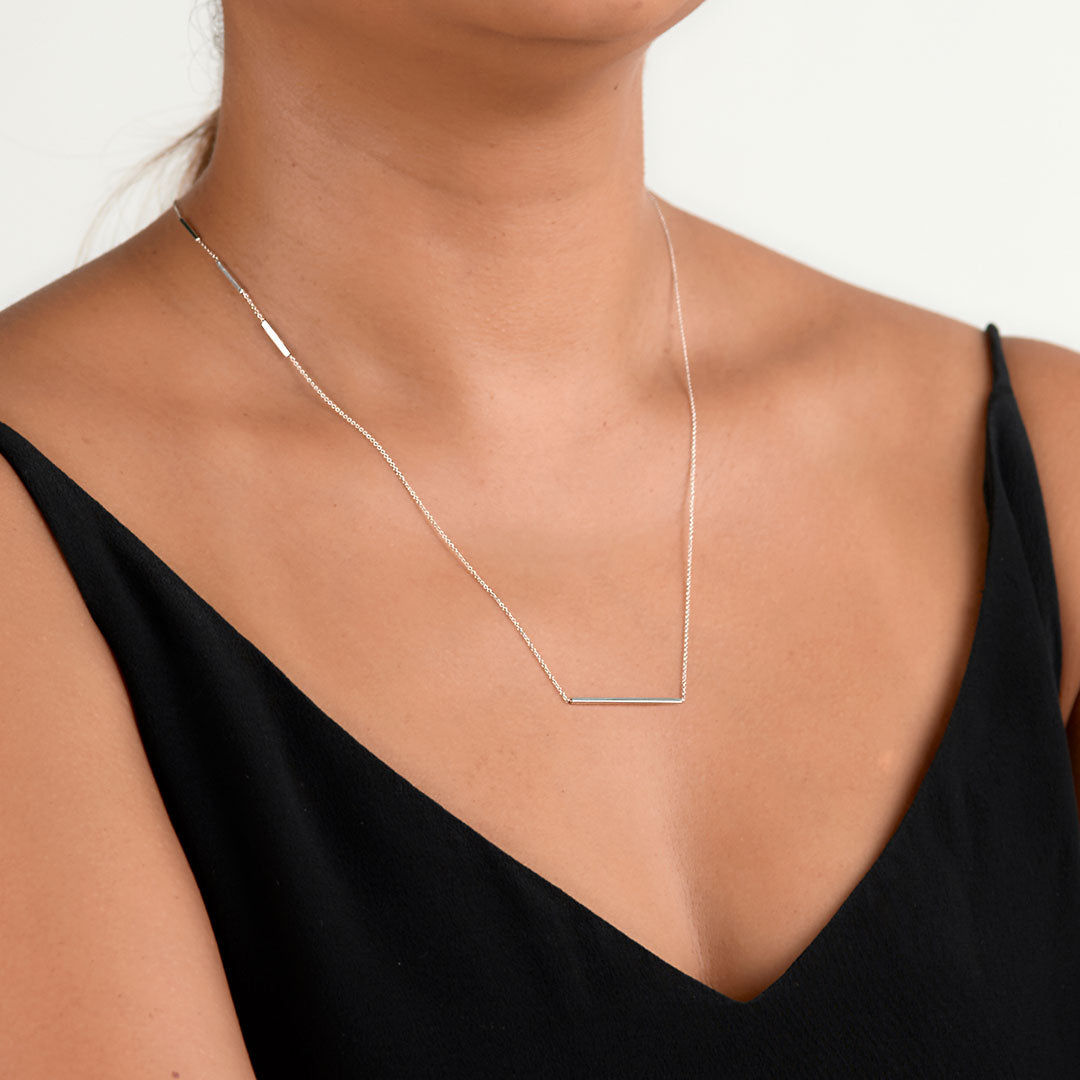 Sterling Silver Edge Necklace