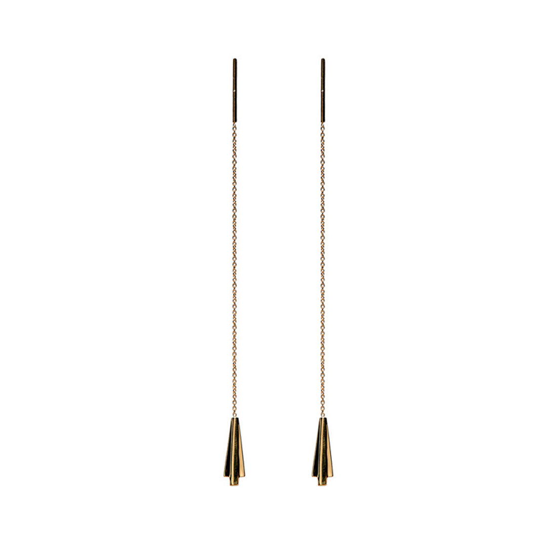 Sleeper art deco earrings in 14k solid gold. minimalist fine jewelry