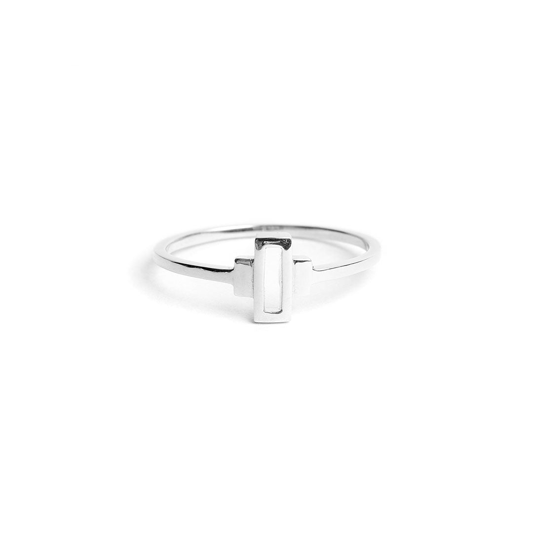 sterling silver delicate stacking ring. art deco