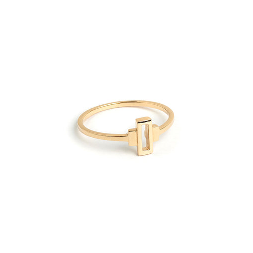minimalist fine jewelry. art deco keystone ring in 14k solid gold