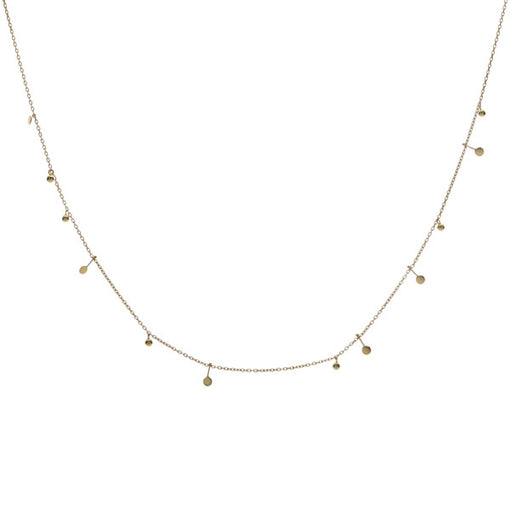 14k gold Malai necklace with discs and balls. fine jewellery