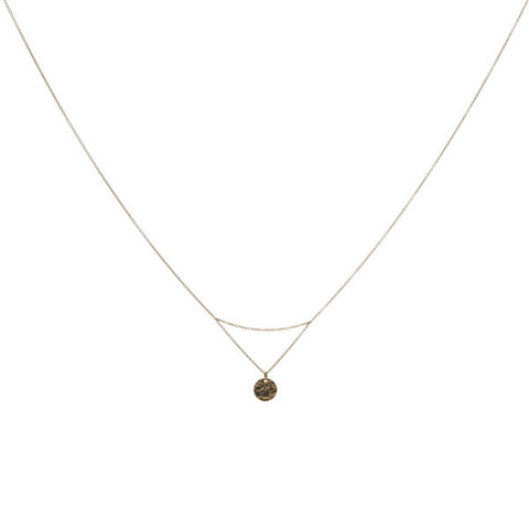 14k gold matahari necklace with hammered disc pendant on fine chain
