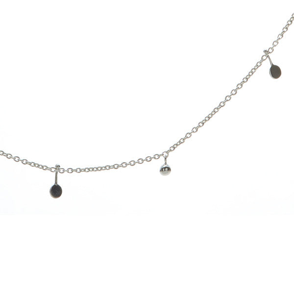 silver malai necklace with discs and balls. fine jewellery