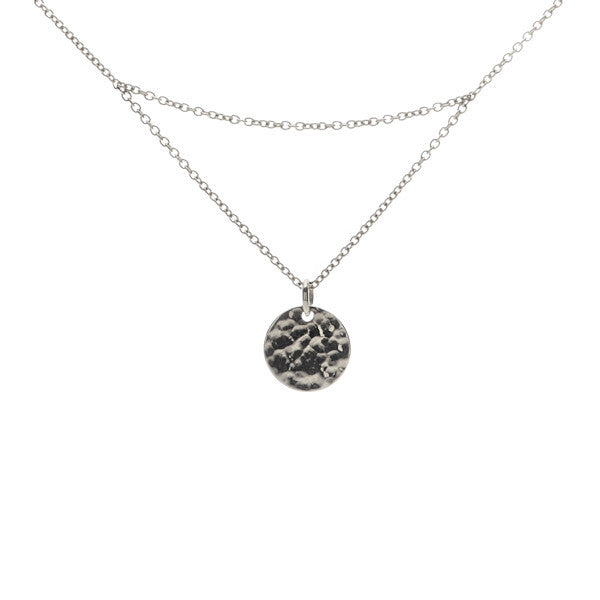 Silver matahari hammered disc necklace. fine jewellery