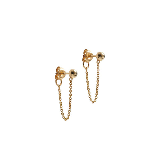 14k gold droplet chain earrings