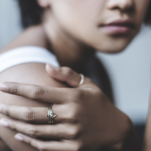 Matahari ring with minimalist stacking ring combinations