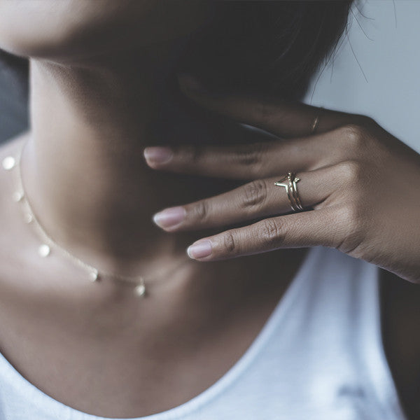 Necklace and ring stacking combinations in 14k gold.
