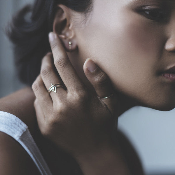 Earrings and ring stacking combinations in 14k gold.