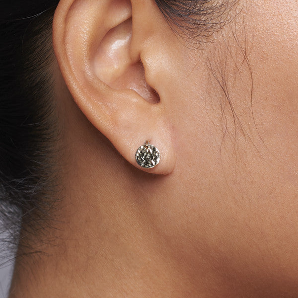 14k gold matahari hammered disc earrings