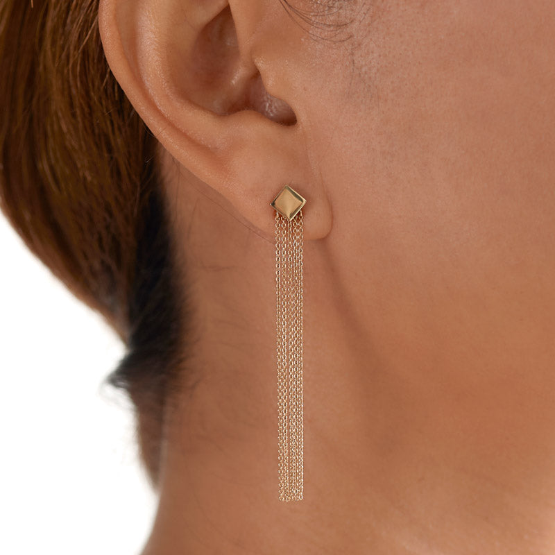 fine jewellery. minimalist statement chain earrings with ear jacket