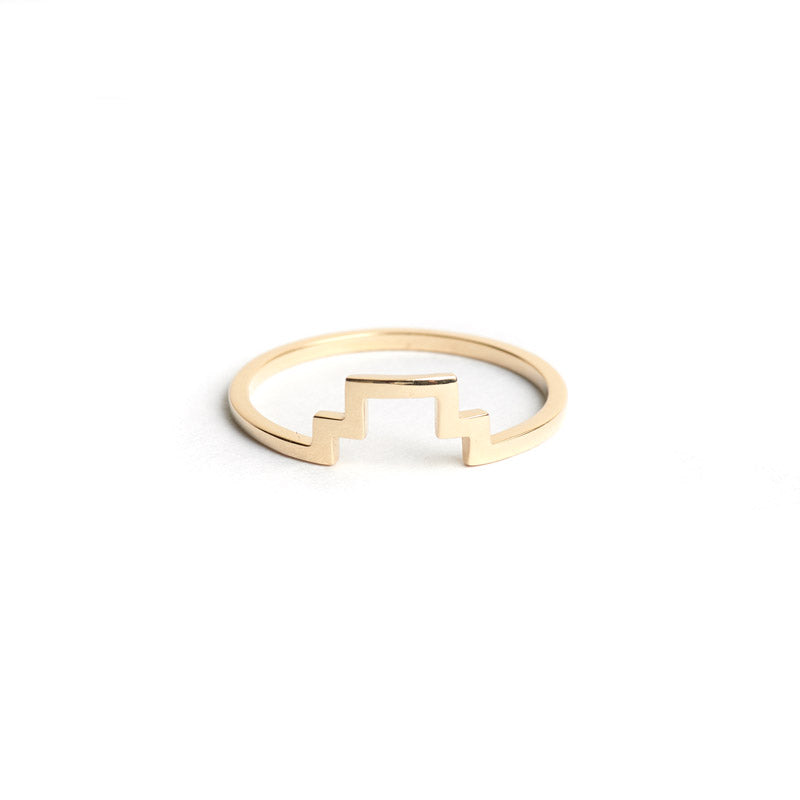 the straits finery. 14k gold minimalist stacking line ring