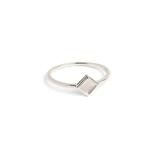 minimalist jewelry. silver diamond shaped stacking ring