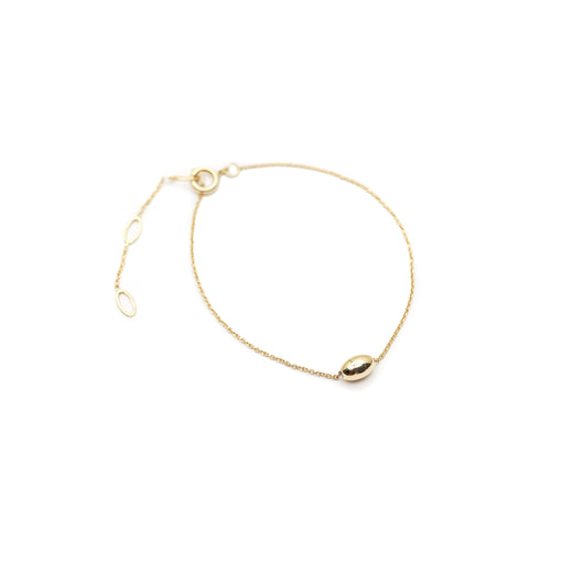 The Straits Finery minimalist bracelet in 14k solid gold with gold bead