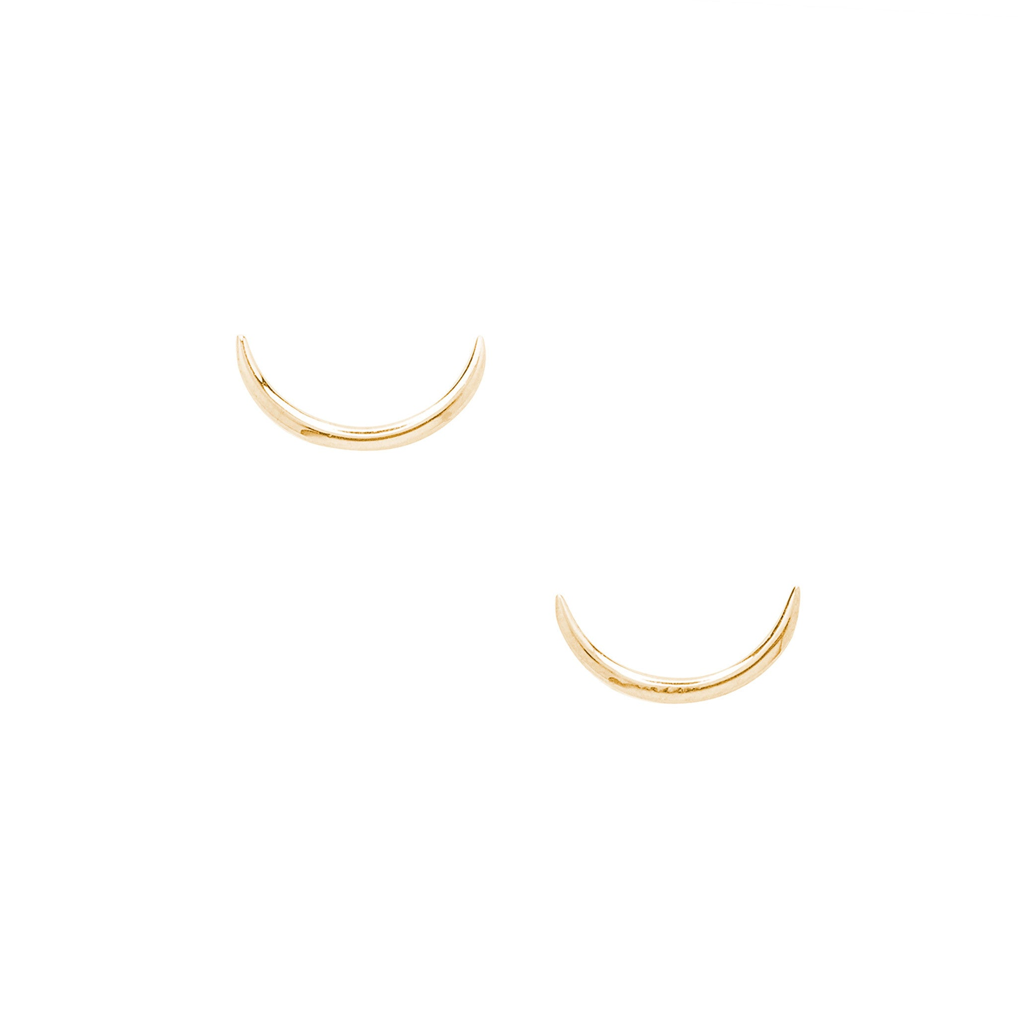 14k solid crescent earrings
