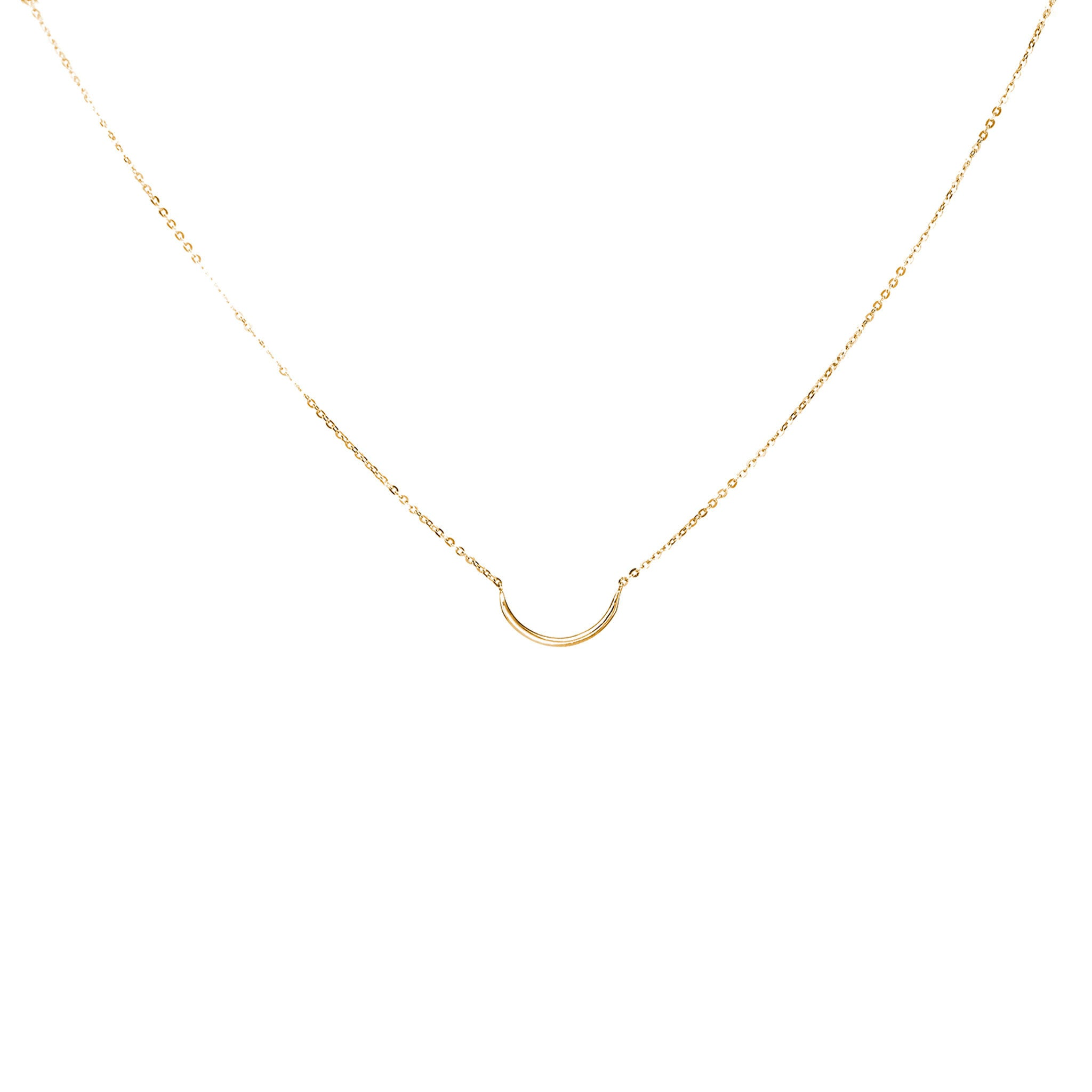 14k solid gold crescent necklace