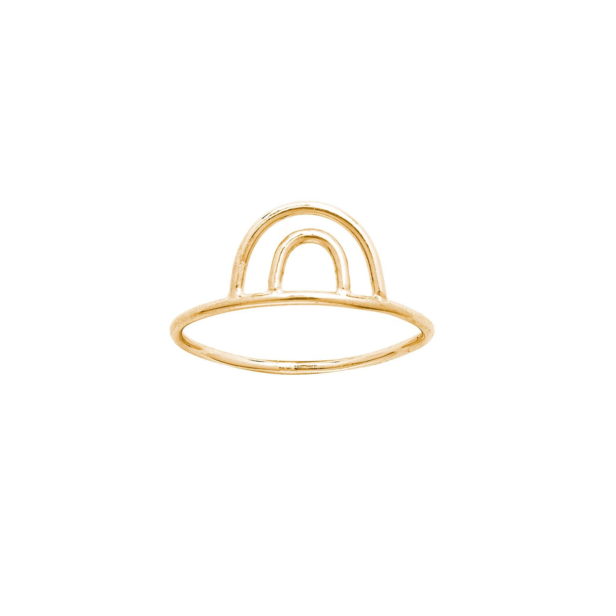 14k solid gold double arc ring