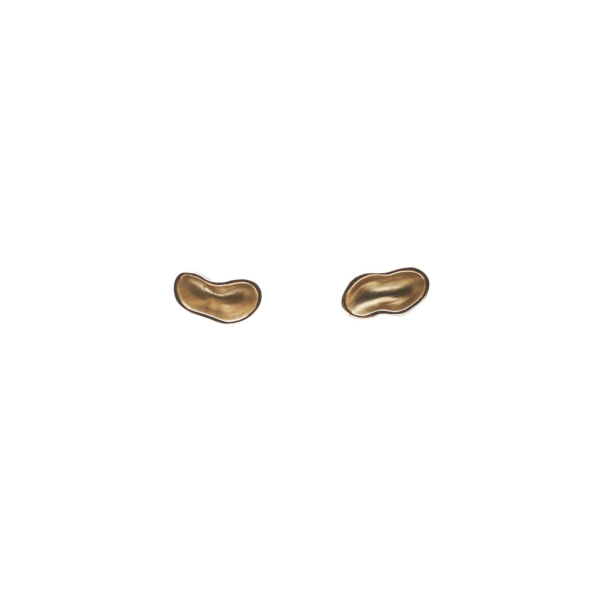 The Straits Finery organic mismatched stud earrings in 14k solid gold