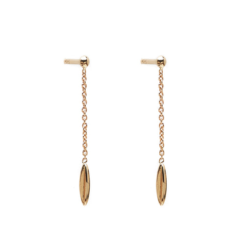 Minimalist solid 14k gold hanging earrings. Delicate fine jewelry.