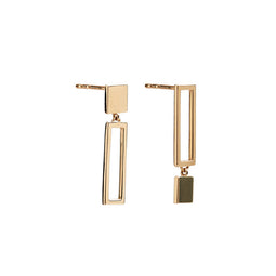 14k gold frame opposite rectangle earrings