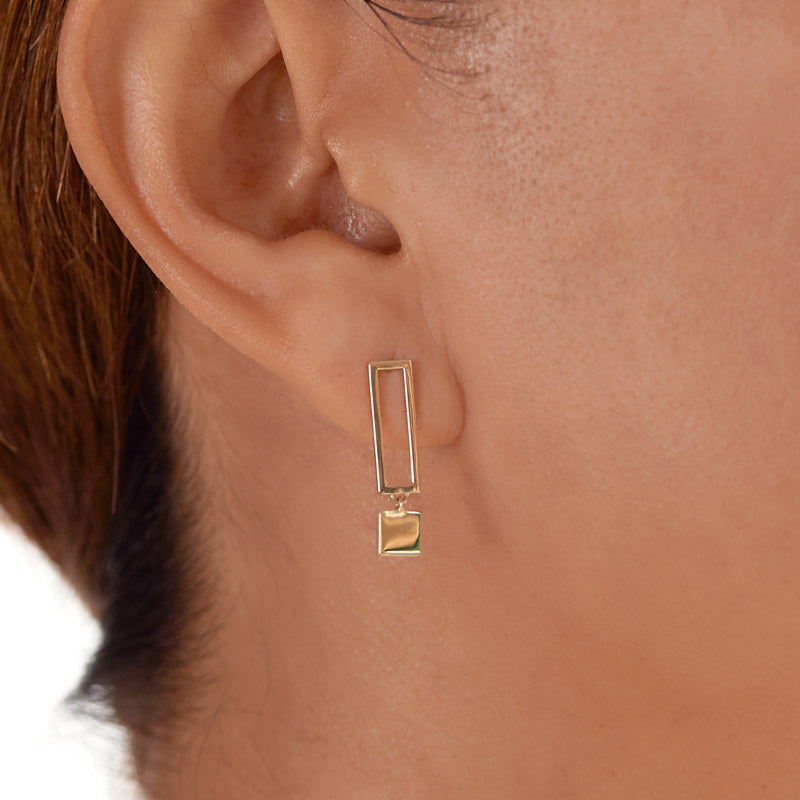 14k gold frame opposite earrings