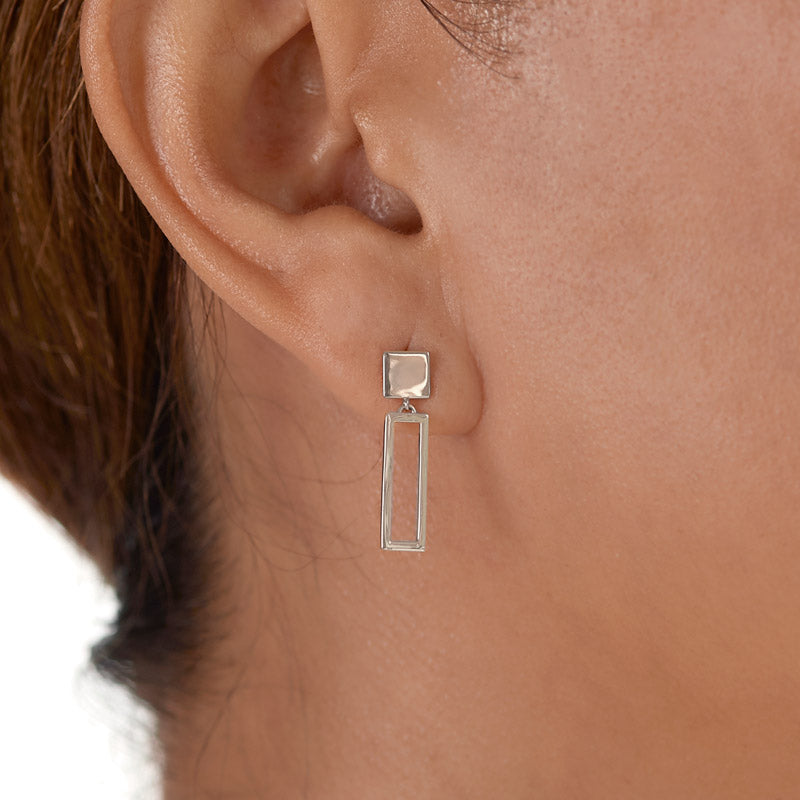 sterling silver rectangle frame earrings