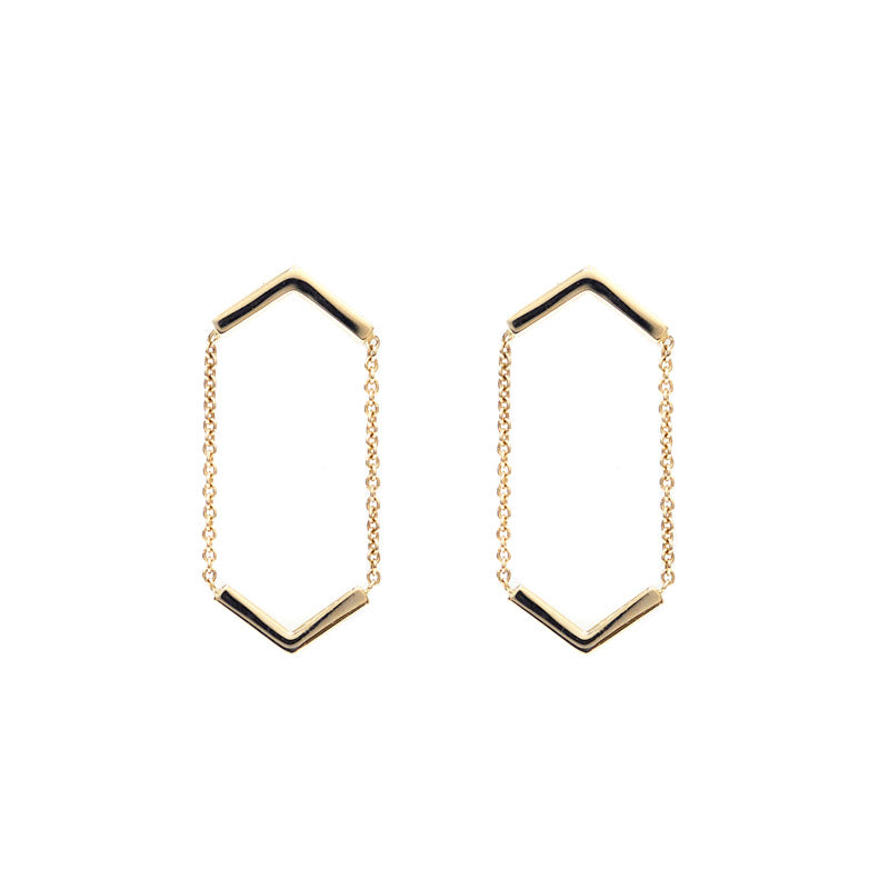 the straits finery 14k gold minimalist hanging line earrings