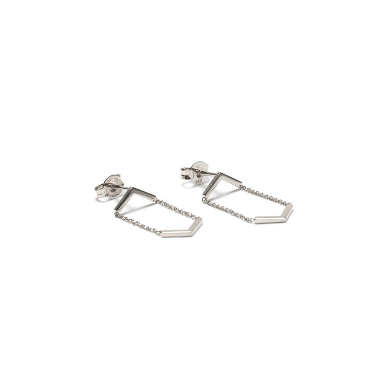fine jewelry. sterling silver minimalist hanging earrings