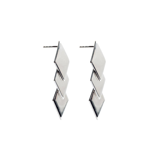 Minimalist jewellery. Silver Statement Rhombus Earrings