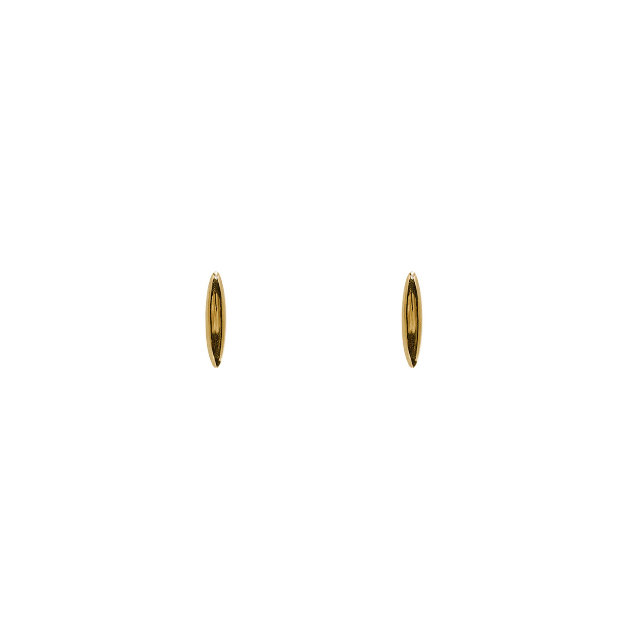 14k solid gold minimalist fine jewelry. stud rice grain Shoal earring