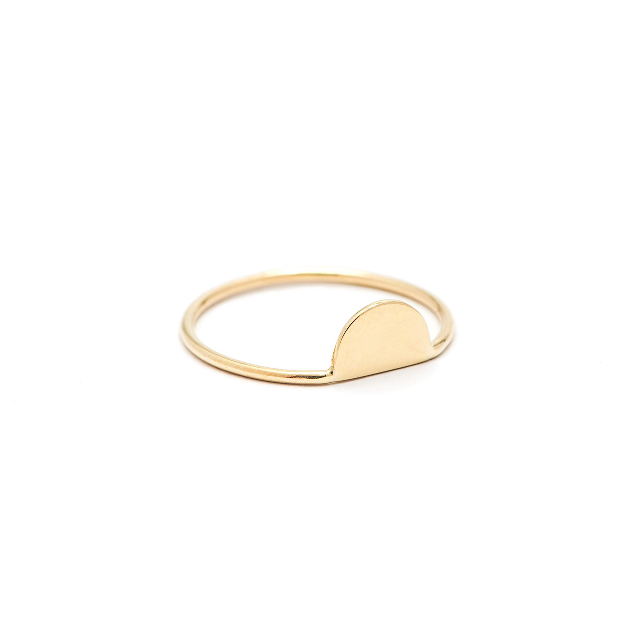 14k solid gold half moon ring
